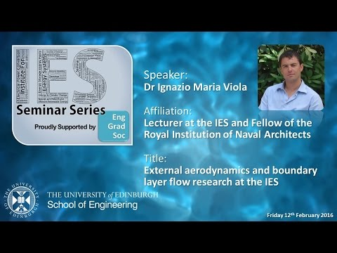 External aerodynamics and boundary layer flow research at the IES - Dr I M Viola