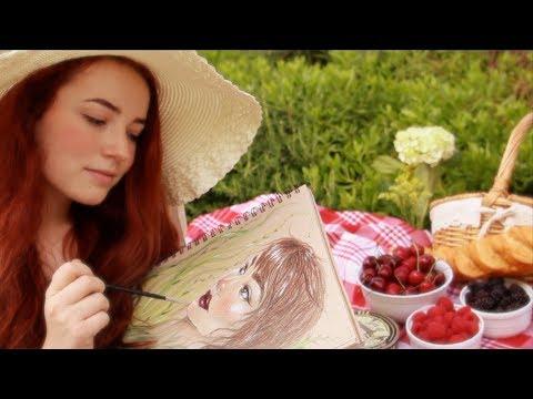 ASMR Summer Morning Picnic & Portrait (Female Subject)