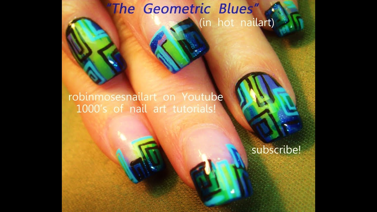 Nail art green and blue geometric design tutorial youtube prinsesfo Choice Image