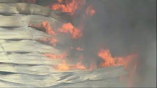 Raw: Chemical Storage Warehouse Burns in Texas
