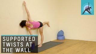 Twisted half Moon pose, Yoga with Adela Serrano