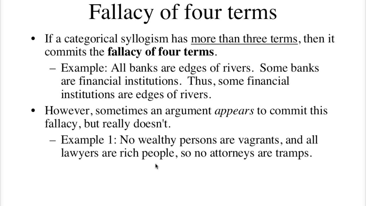 Fallacy Of Four Terms Youtube