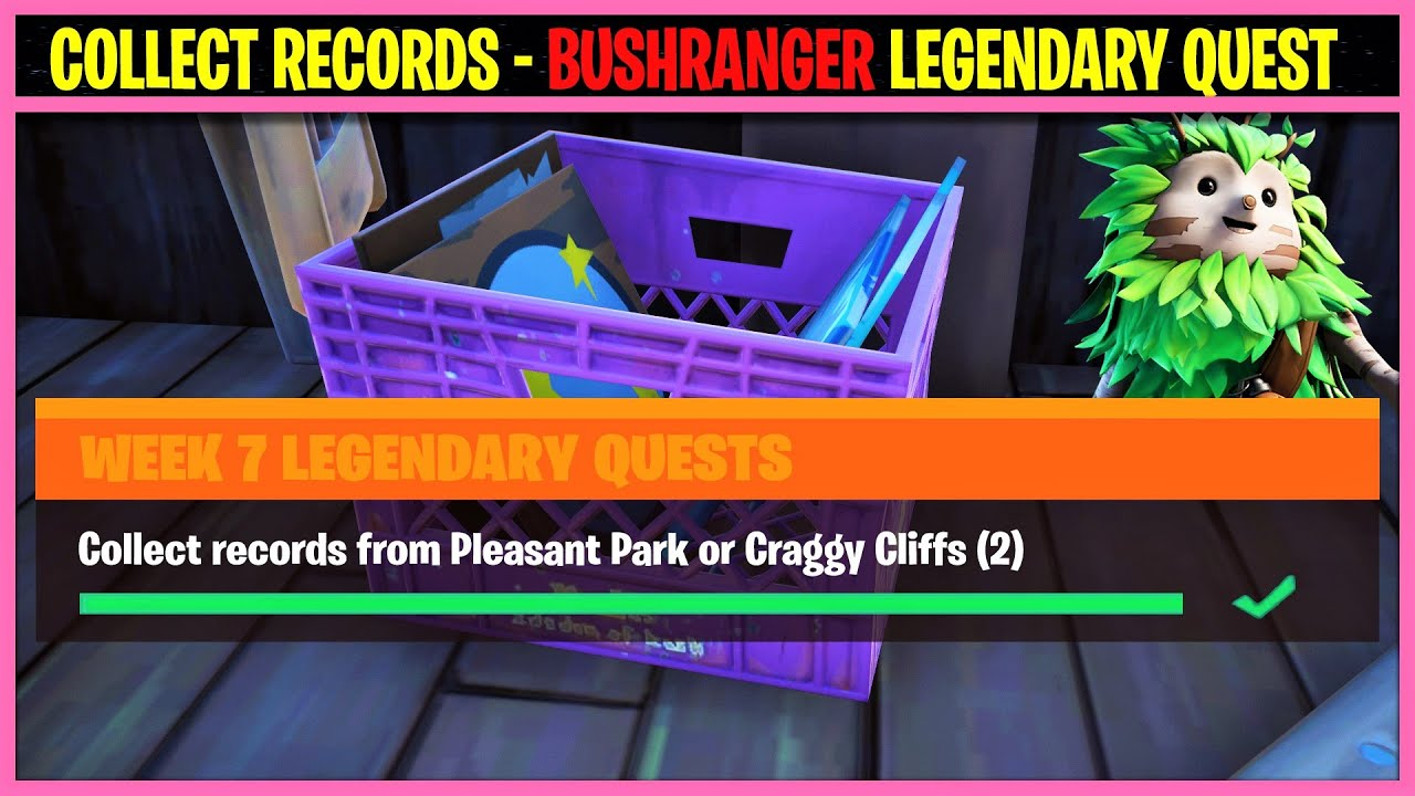 Collect Records from Pleasant Park or Craggy Cliffs (2) - Fortnite BUSHRANGER Legendary Quest