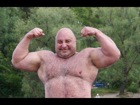Legendary strongman Vidas Blekaitis trains in the outdoor gym of Hydropark of Kiev (Ukraine)