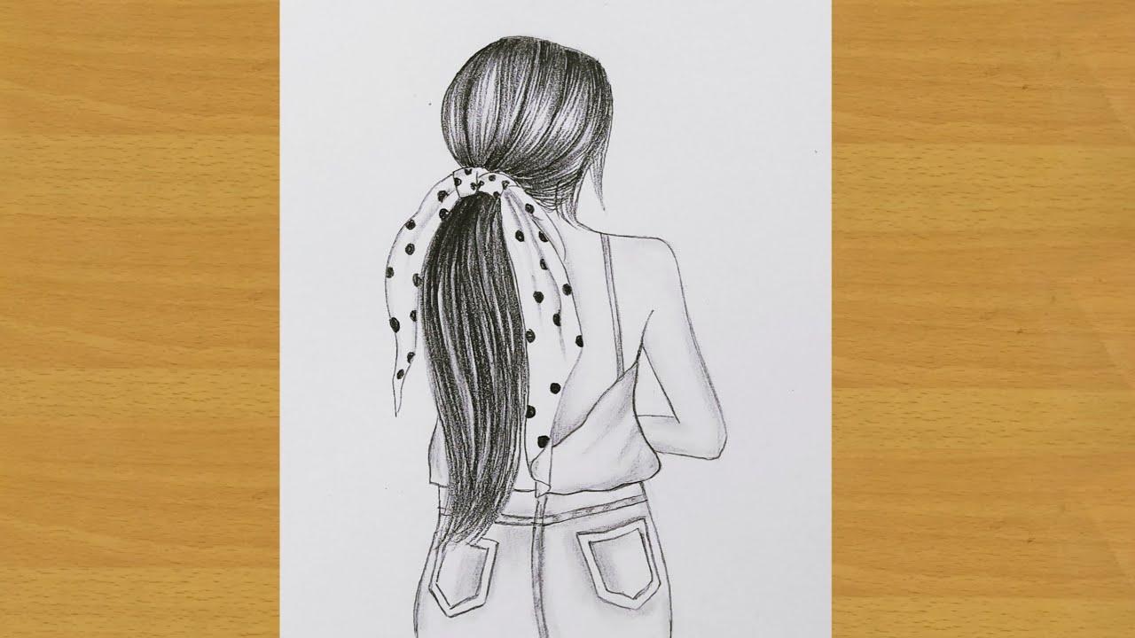 Easy way to draw a beautiful backside girl   Gali Gali Art   