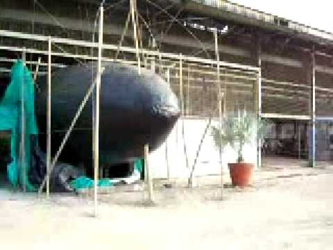 concrete submarine yacht, raw building, hull