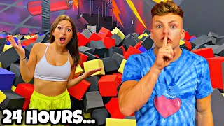 24 HOUR OVERNIGHT IN TRAMPOLINE PARK FOAM PIT WITH MY GIRLFRIEND!