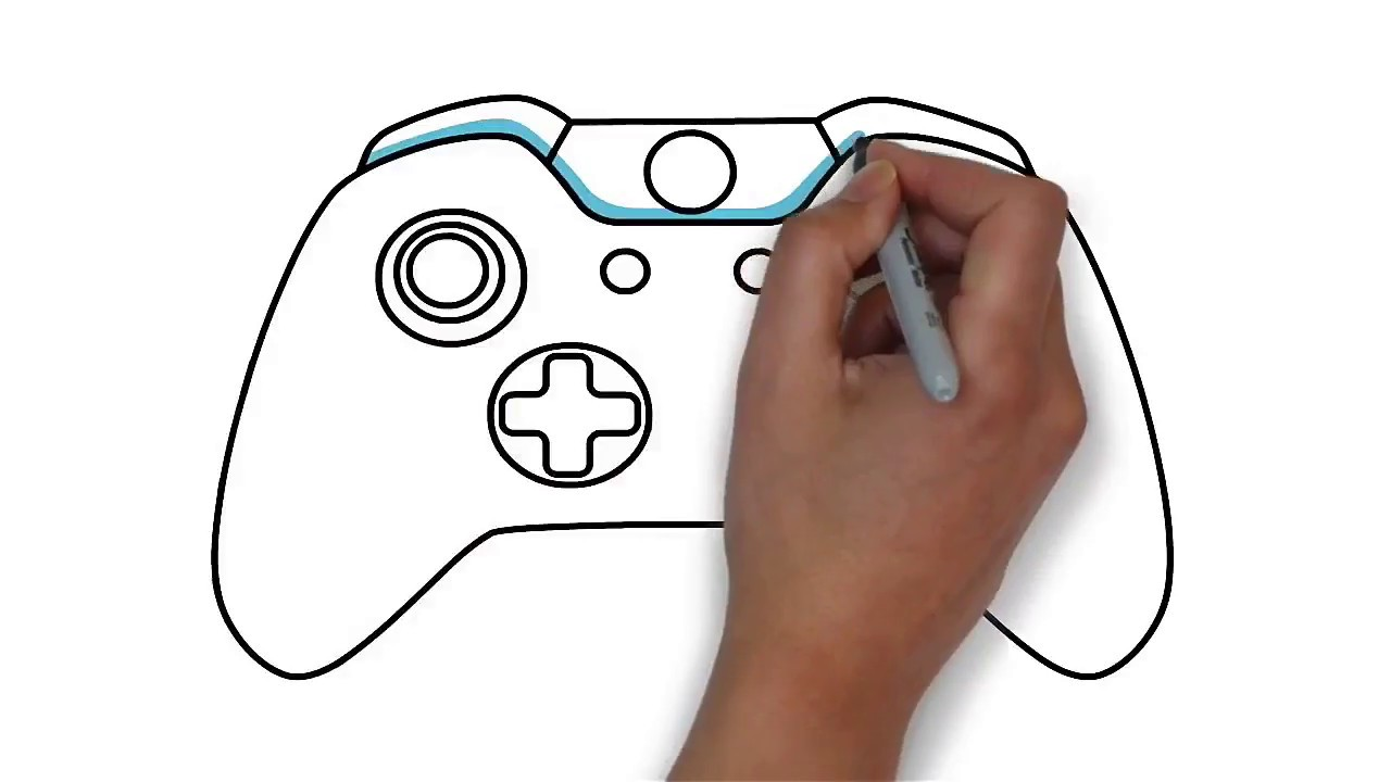 How To Draw A Xbox Controller Step By Step Learn Drawing Youtube