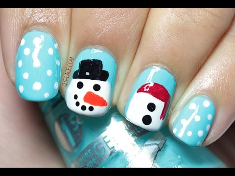 Snowman nail art - Snowman Nail Art - YouTube