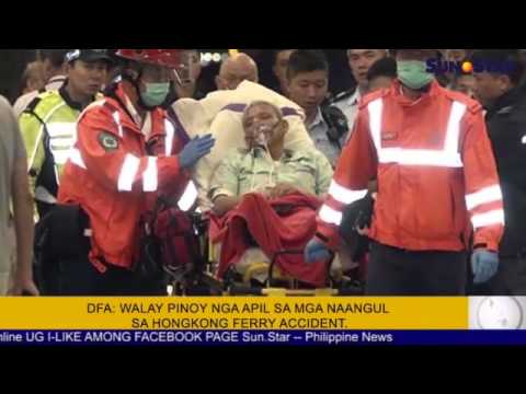DFA: walay pinoy nga apil sa mga naangul sa Hongkong ferry accident