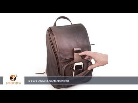 Mittel-Großer Lederrucksack Größe M / Laptop Rucksack bis 14 Zoll, für Damen und Herren, Braun,
