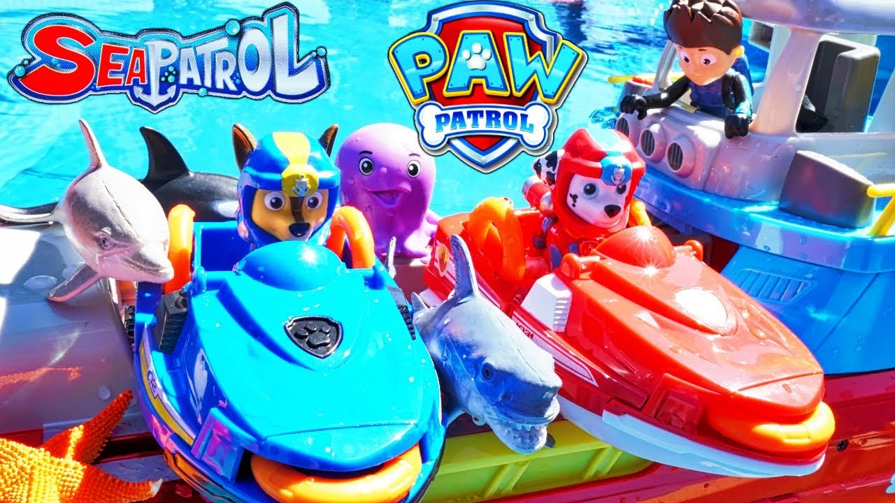 ff774bc670 Sea Patroller Paw Patrol Pups Save a Shark Chase Marshall Jet Skis Adventure  Bay Beach Rescue!