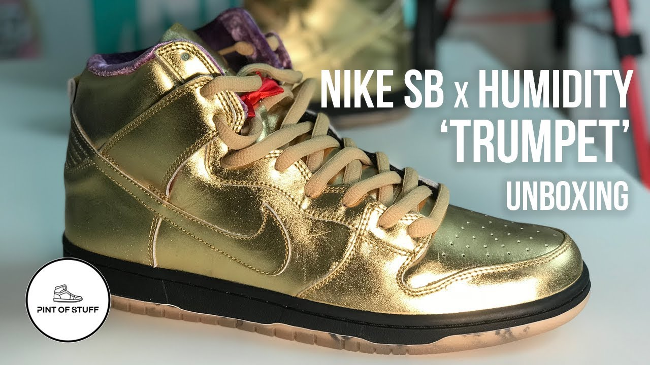 save off 7437a 3c7e9 Nike SB Dunk High x Humidity 'Metallic Gold' Trumpet QS Sneaker Unboxing  with Mr B