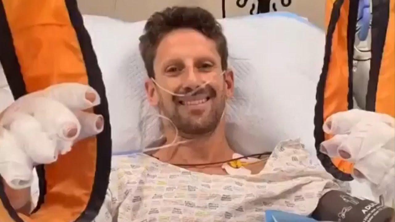 "Download Romain Grosjean says he's ""OK"" in hospital after horrifying crash in Bahrain"