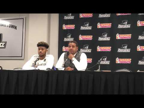 Ed Cooley and freshman Nate Watson discuss transition to college basketball.