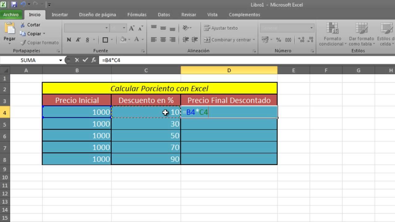 Como calcular porcentaje con excel calcular por ciento en for Como hacer una nomina en excel con formulas