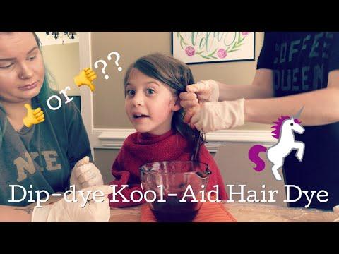 DIP DYE HAIR DYE WITH KOOL-AID! We dyed my daughter's hair PINK!