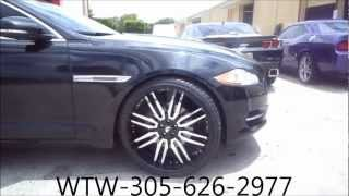 "AceWhips.NET- WTW Customs- Black 2012 Jaguar XJL on 24"" Sedici Forgiatos"