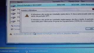 Corrigir erro-Windows não pode ser instalado no disco estilo partição GPT