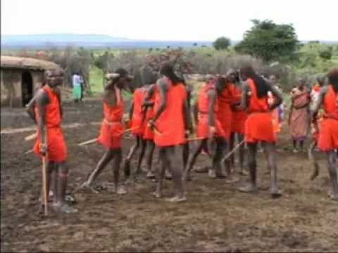 Kenya Masai tribe singing and dancing