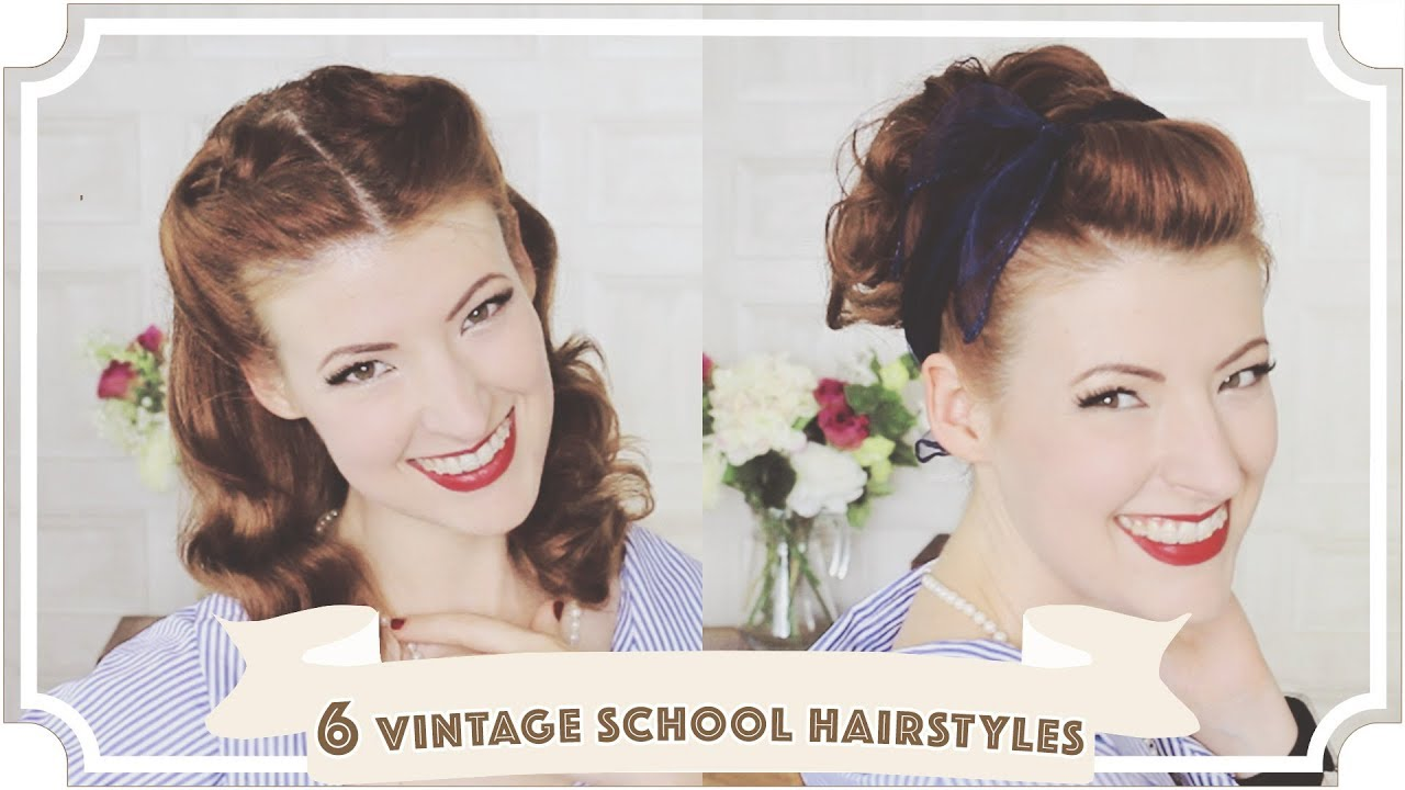 6 Easy Vintage 1950s Back To School Hairstyles Cc Youtube