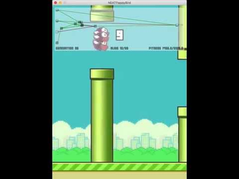 NEAT algorithm playing Flappy Bird (Long)