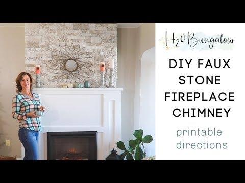 DIY Faux Stone Fireplace Chimney