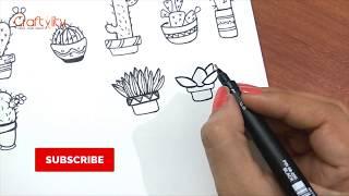 15 Potted Plant to Doodle | Cactus Doodle | Succulent Doodles | Fun Doodle