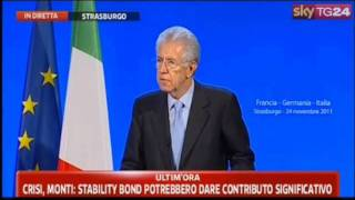 Stoccata di Monti a Francia, Germania e governo Berlusconi (Strasburgo, 24/11/'11)