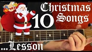 10 Christmas Songs - Guitar Lesson✅✅🎉✨