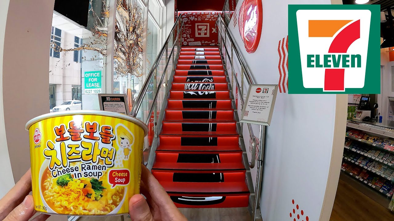 Eating at 7-Eleven Coca-Cola Store