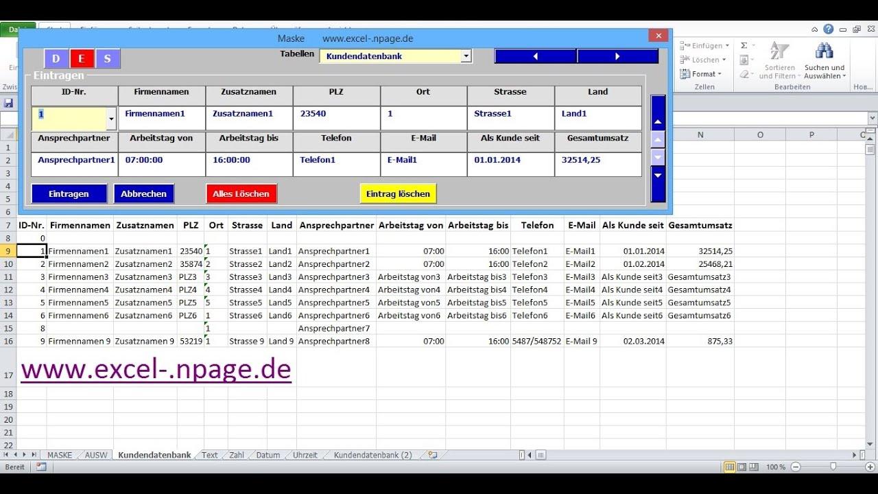 21_Datenbank Programm mit flexibler Maske erstellen. Aus ...