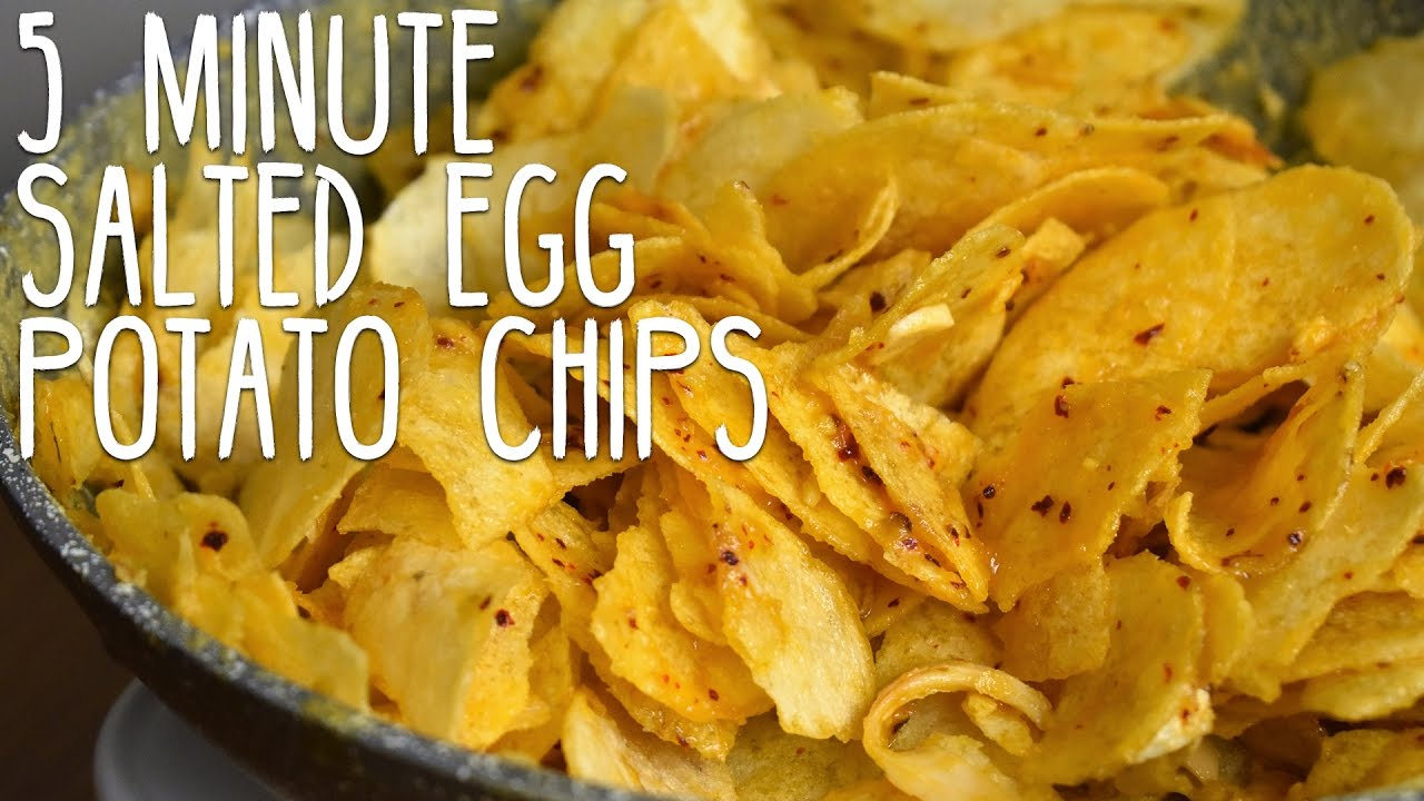 5 Minute Salted Egg Potato Chips Recipe Youtube