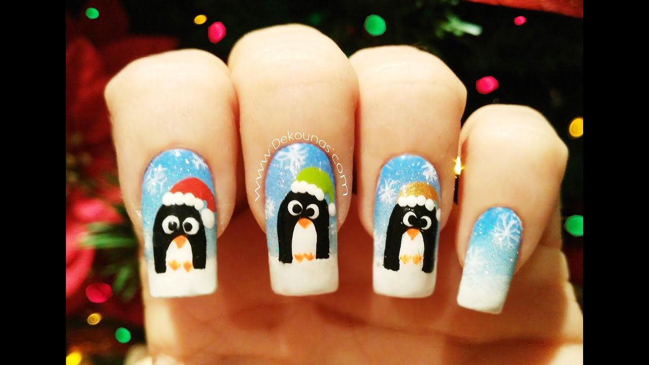Decoraci n de u as pinguinos navide os penguin nail art for Decoracion de unas simple