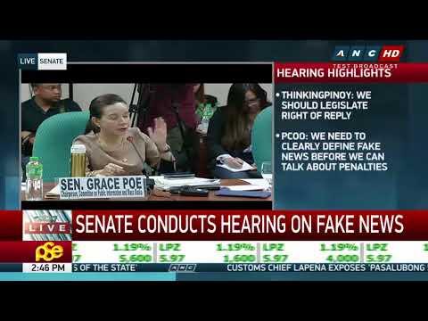 ANC Live: Mocha, Trillanes face off in Senate probe on 'fake news' (part 1)