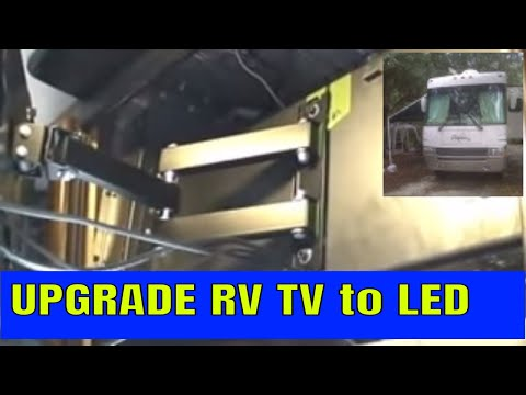 REMOVE RV TUBE TV  REPLACE with LED FLAT SCREEN  MOTORHOME  TV RV UPGRADE