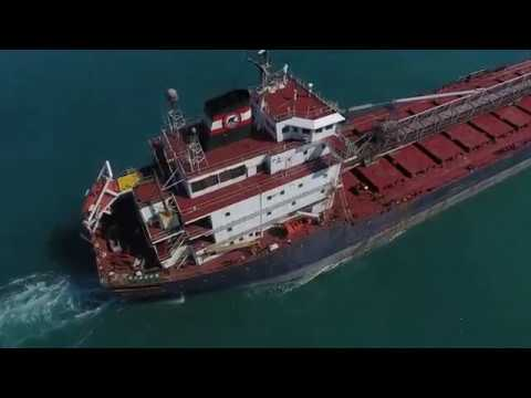 Great Lakes Freighter Drone 4K UHD