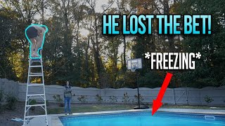 JUMPING INTO FREEZING COLD POOL FROM 10 FOOT LADDER!!