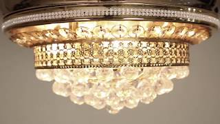 Sonics luxury chandelier Ceiling Fan with retractable blade, led light and remote in India