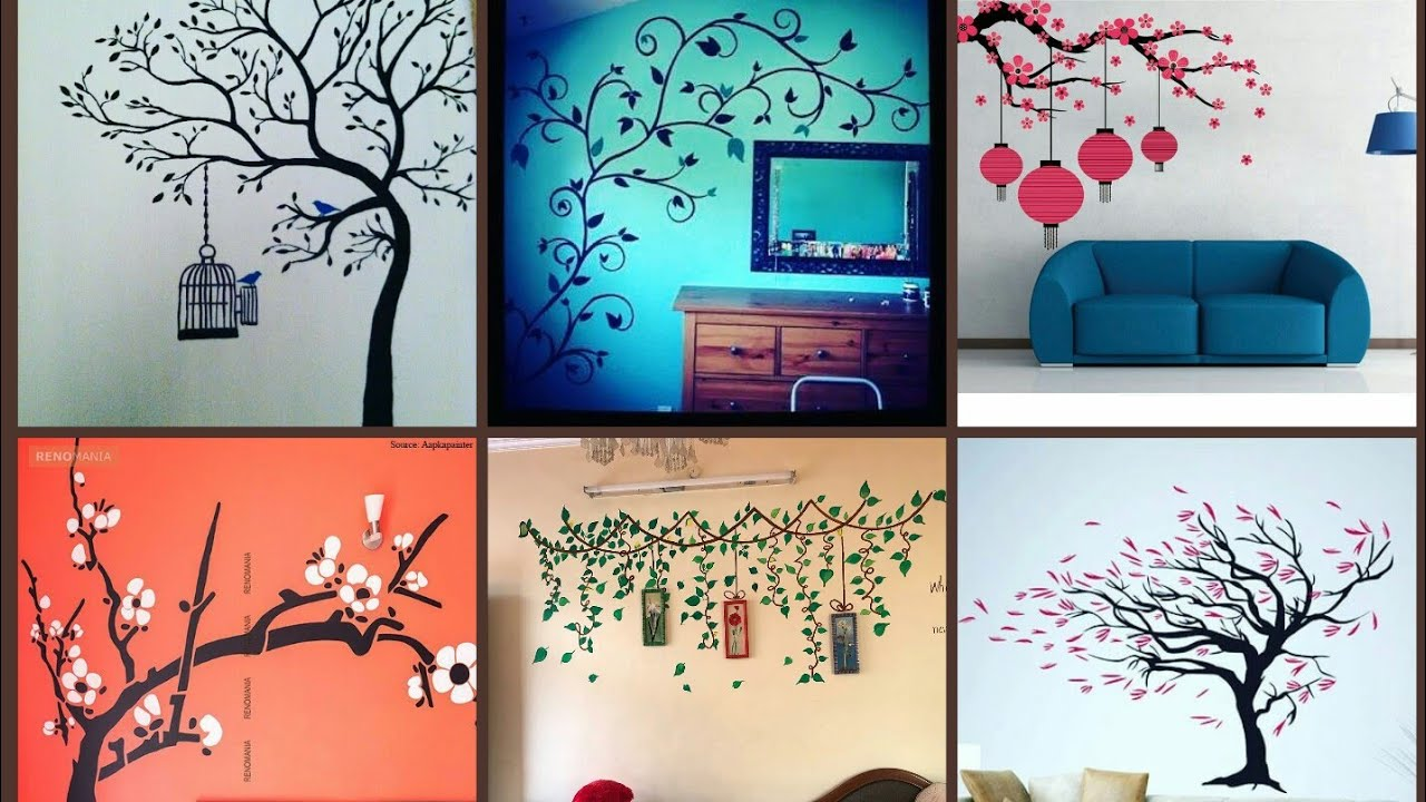 Amazing Wall Painting Ideas How To Decorate Ur Wall Bedroom Hall Room By Simple Paintings Youtube