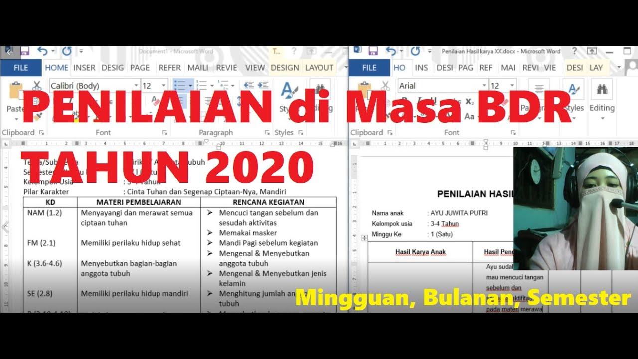 Ayu E It Cara Isi Penilaian Mingguan Bulanan Semester Paud Masa Bdr 2020 Youtube