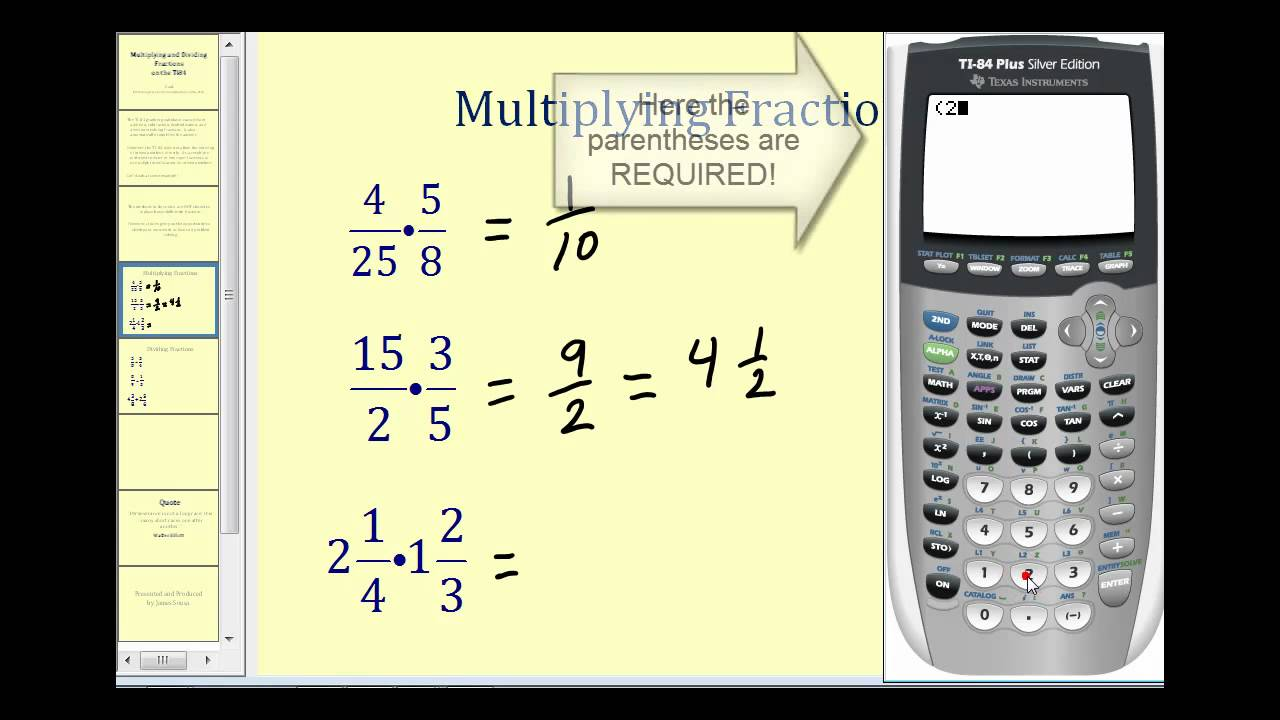Multiplying and dividing fractions on the ti84 youtube multiplying and dividing fractions on the ti84 ccuart Gallery