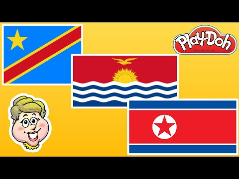 Play-Doh Flags! Democratic Republic of the Congo, Kiribati, and North Korea! EWMJ #500