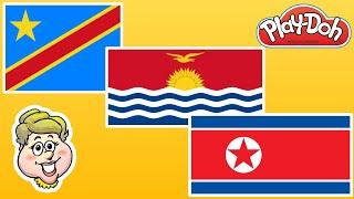 Play-Doh Flags! Democratic Republic of the Congo, Kiribati, and North Korea! EWMJ #500