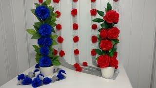 Como fazer arranjo com flores de papel de seda (Artesanato)