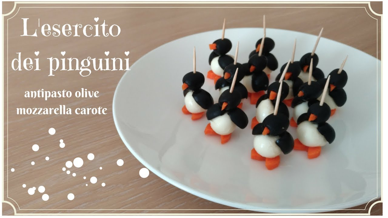 Antipasti Di Natale Pinguini Con Olive E Formaggio.L Esercito Dei Pinguini Antipasto Pinguini Antipasto Olive Mozzarella Carote Youtube