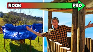 We Built 3 versions of Apocalypse Survival Shelters! *TERRIBLE TO AMAZING*