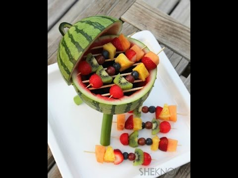 Watermelon grill with fruit kabobs Tutorial.