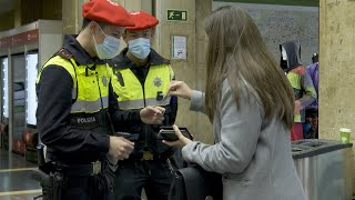 Controles de movilidad peatonal en Bilbao por el confinamiento