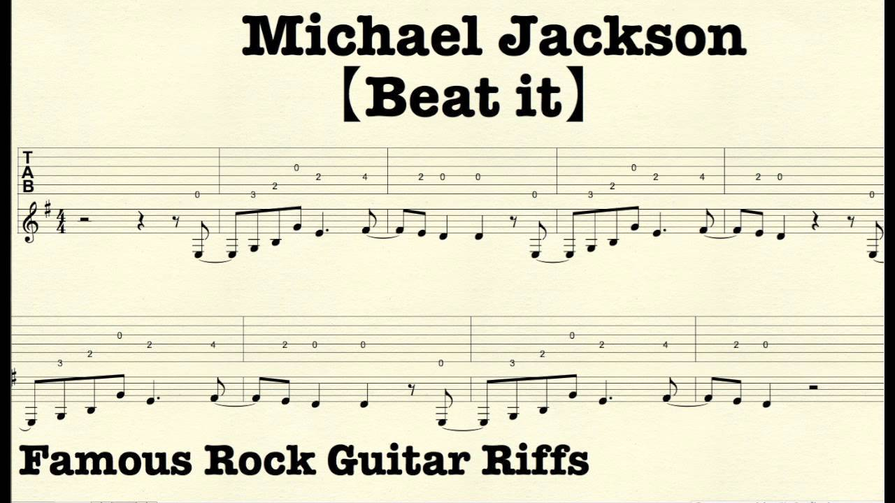 famous rock guitar riffs with tabs beat it micheal jackson youtube. Black Bedroom Furniture Sets. Home Design Ideas